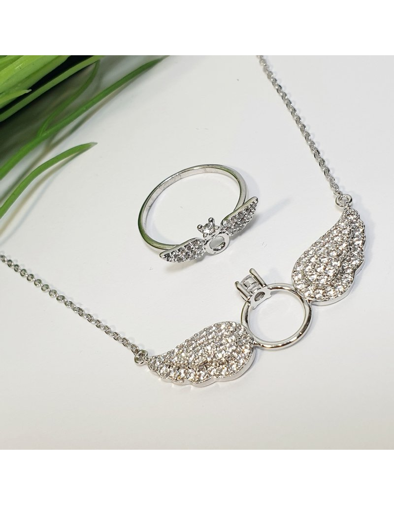 GSA0038-Silver, Angel Wings With Ring Necklace And Ring with