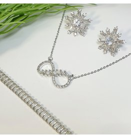 GSA0039-Silver, Infinity Necklacebaguette Bracelet with CLUSTER EARRING