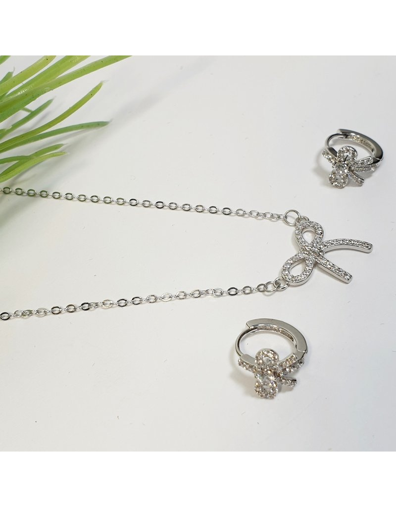 GSA0040-Bow Earring, Bow Necklace with