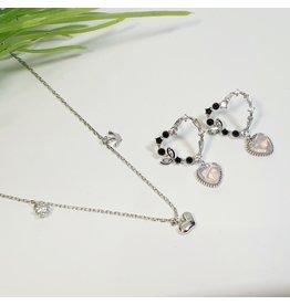 GSA0041-Drop Heart Earring, Silver, Crown Pendant with