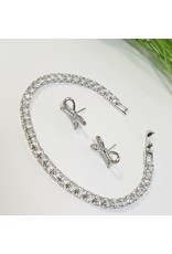 GSA0042-Bow Earring, Tennis Bracelet with