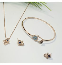 GSA0044-Rose Gold, Evil Eye Necklace & Earring with EVIL EYE BRACELET