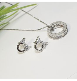 GSA0043-Silver, Ring Pendant Necklace with BOW EARRING