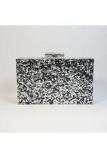 Cta0003 - Black, Marble Clutch Bag