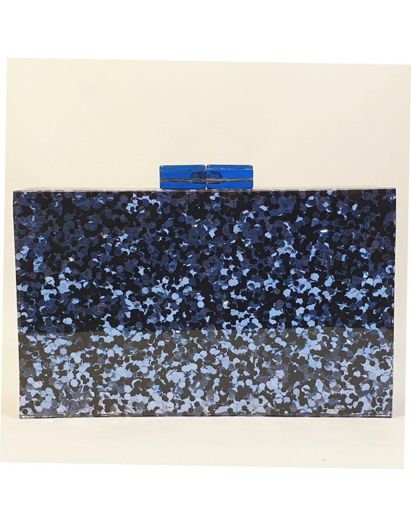Cta0005 - Blue, Marble Clutch Bag