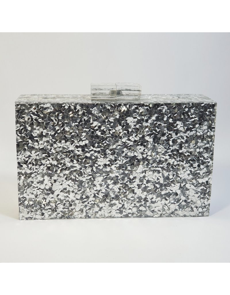 Cta0007 - Silver, Marble Clutch Bag