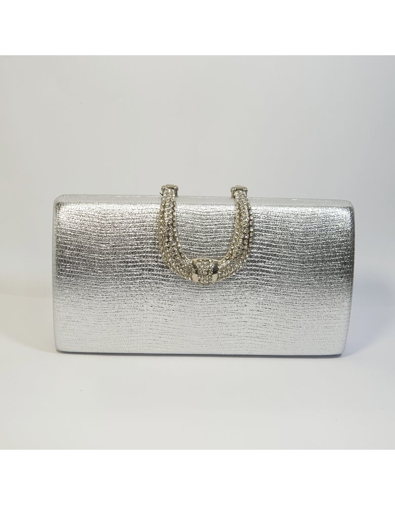 Cta0008 - Silver, Rectangle, Crystal Clutch Bag