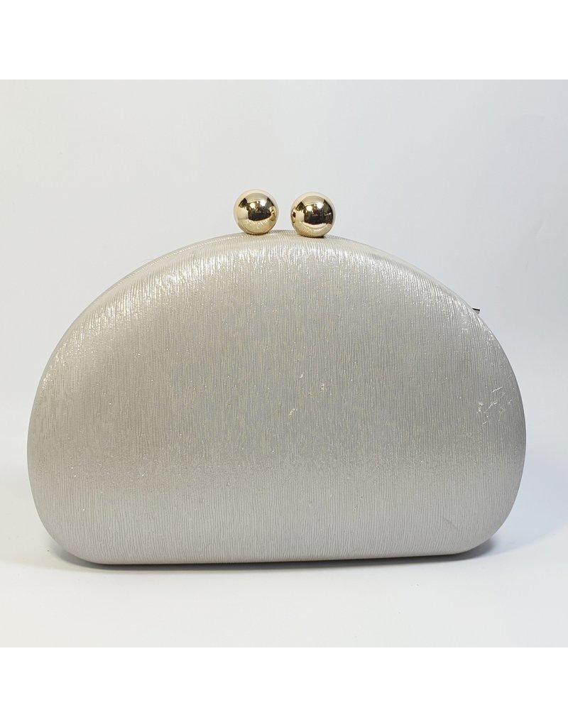 Cta0029 - Silver, Oval Clutch Bag