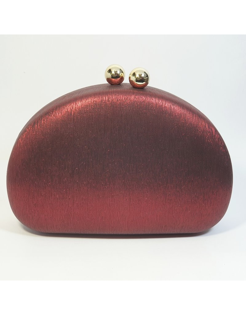 Cta0030 - Red, Oval Clutch Bag