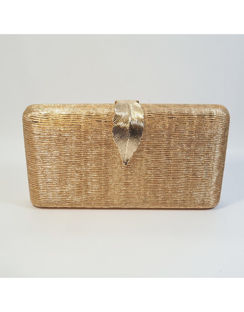 Cta0031 - Champagne, Rectangle, Leaf Clutch Bag