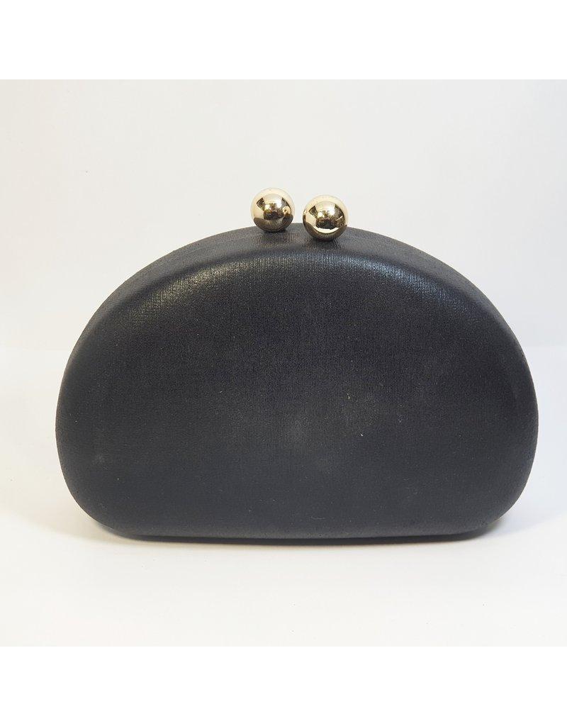 Cta0034 - Black, Oval Clutch Bag