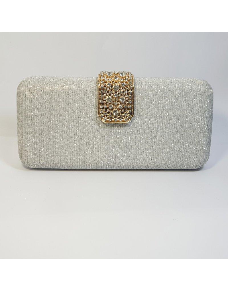 Cta0048 - Silver, Rectangle, Gold Crystal Clutch Bag