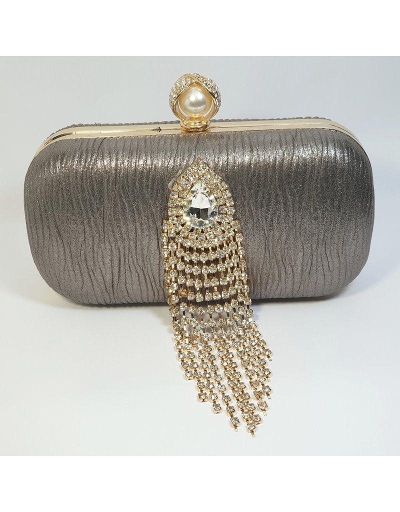 Cta0069 - Grey, Crystal Clutch Bag