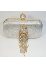 Cta0071 - Silver, Crystal Clutch Bag