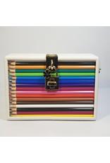 Cta0087 - White, Multicolour Pencils Novelty Clutch Bag
