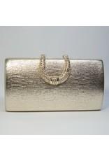 Cta0101 - Gold, Rectangle, Crystal Clutch Bag