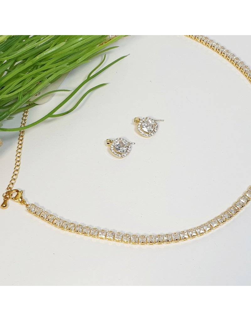 GSA0009-Gold, Square Choker with SQUARE STONE EARRING