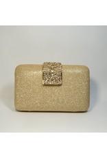 Cta0119 - Gold, Rectangle, Gold Crystal Clutch Bag