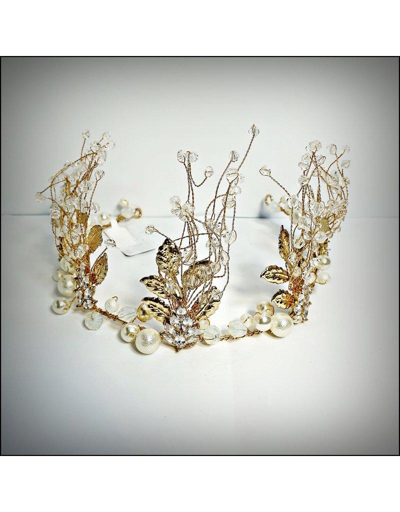 HPF0025 - Gold Crystal Bead Tiara