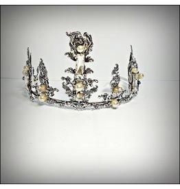HPF0026 - Black, Pearl Vintage Tiara