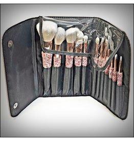 HRG0157 - Pink, Silver Make Up Brush Set With Case