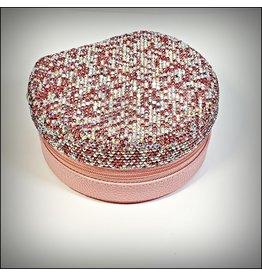 HRG0160 - Pink, Silver  Round Jewellery Box