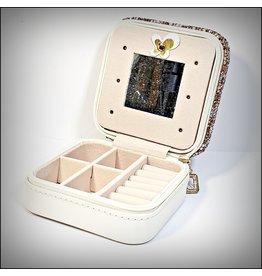 HRG0155 - Rose Gold, Crème Square Mini Jewellery Box