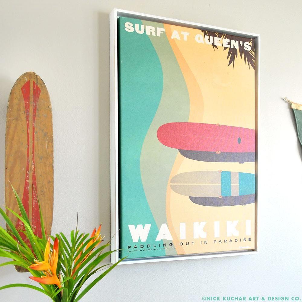 Nick Kuchar 16X24 FRAMED CANVAS PRINT: SURF AT QUEENS