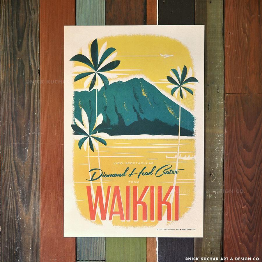 Nick Kuchar 12X18 RETRO HAWAII TRAVEL PRINT: DIAMOND HEAD