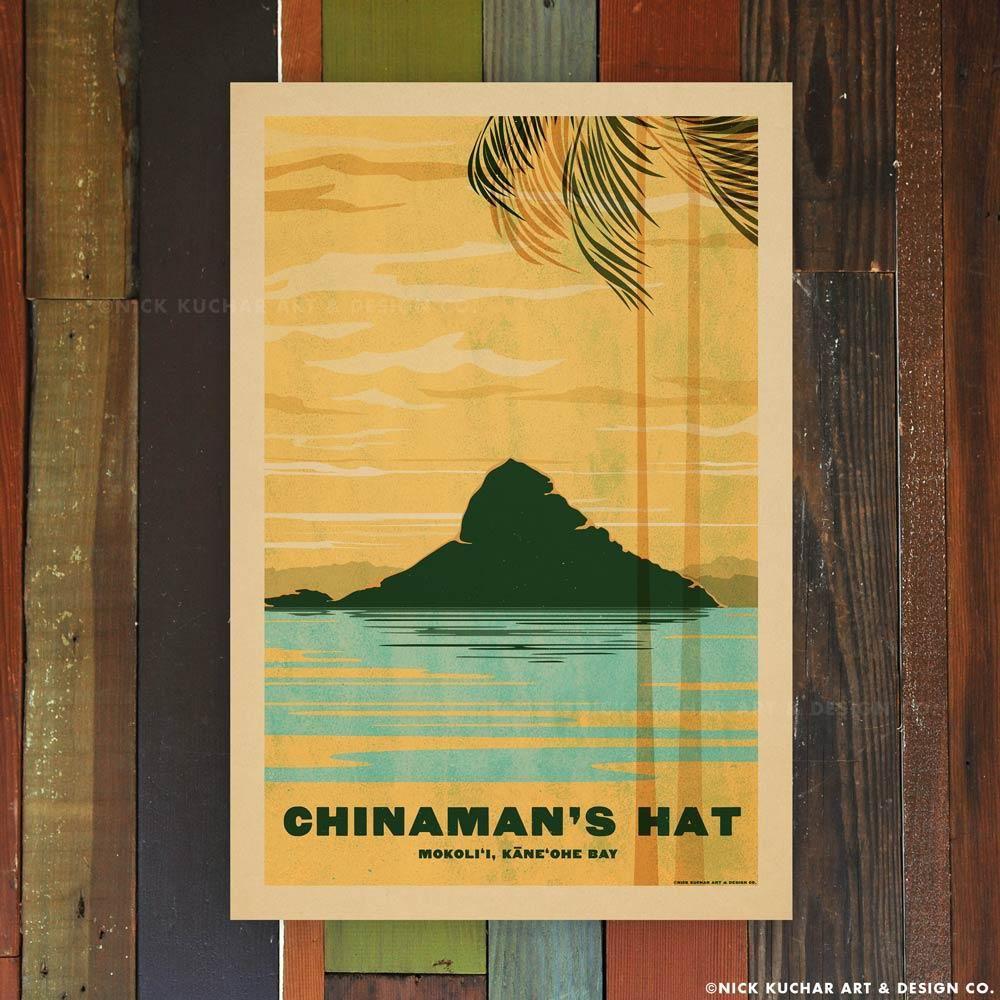 Nick Kuchar 12X18 RETRO HAWAII TRAVEL PRINT: CHINAMANS HAT