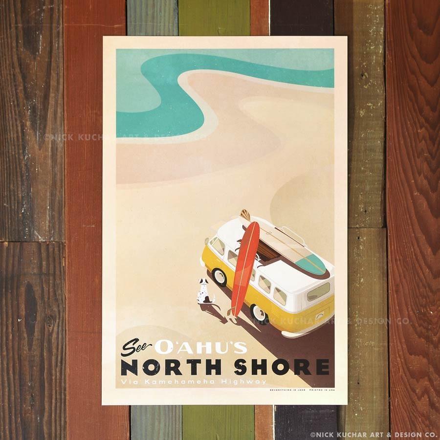 Nick Kuchar 12X18 RETRO HAWAII TRAVEL PRINT: SEE OAHU'S NORTH SHORE