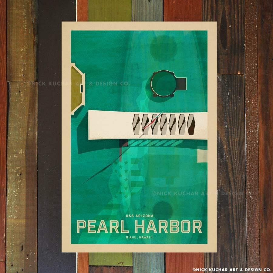Nick Kuchar 12X18 RETRO HAWAII TRAVEL PRINT: PEARL HARBOR