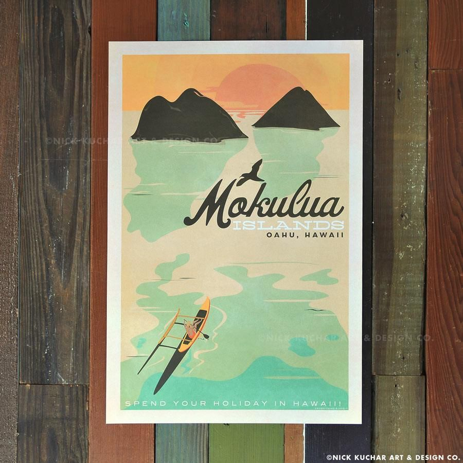 Nick Kuchar 12X18 RETRO HAWAII TRAVEL PRINT: MOKULUA ISLANDS