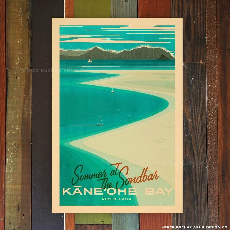 Nick Kuchar 12X18 RETRO HAWAII TRAVEL PRINT: KANEOHE SANDBAR