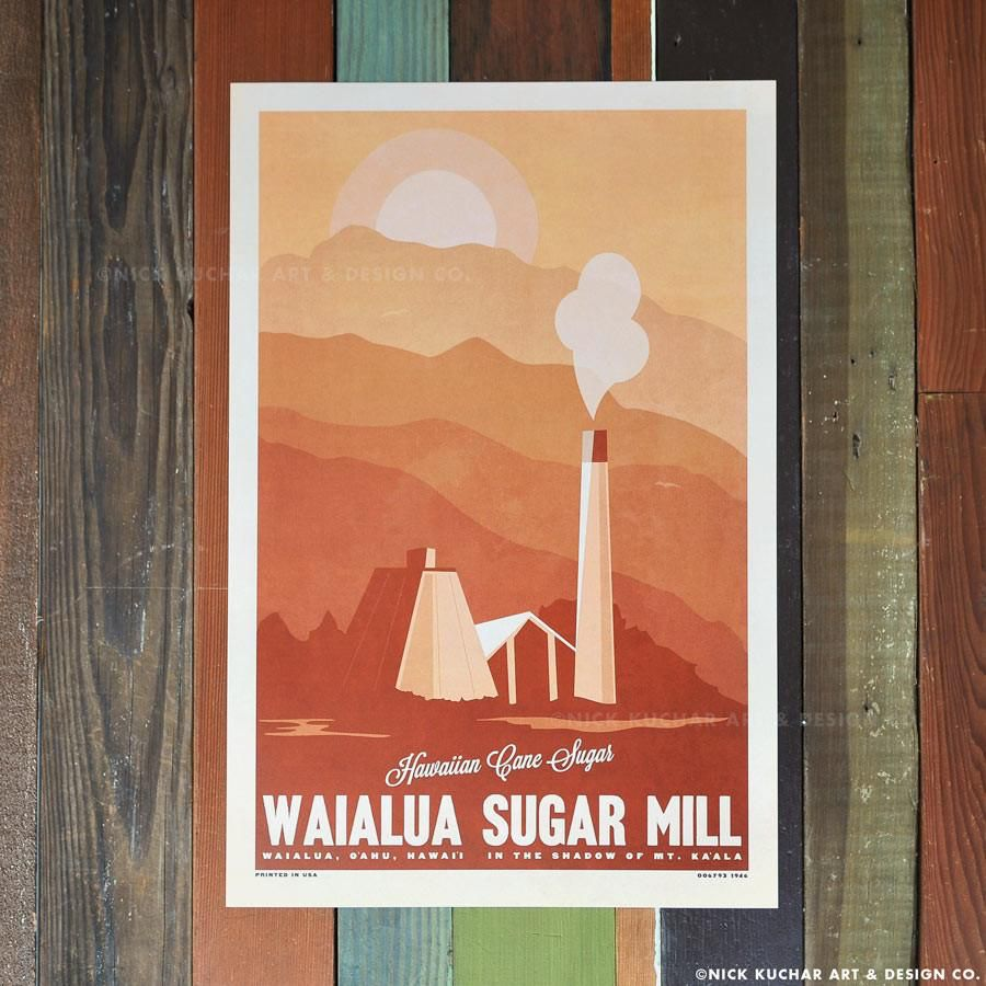 Nick Kuchar 12X18 RETRO HAWAII TRAVEL PRINT: WAIALUA SUGAR MILL