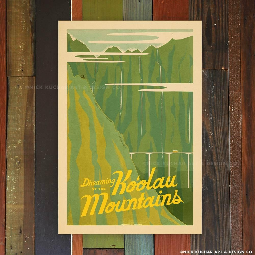 Nick Kuchar 12X18 RETRO HAWAII TRAVEL PRINT: KOOLAUS