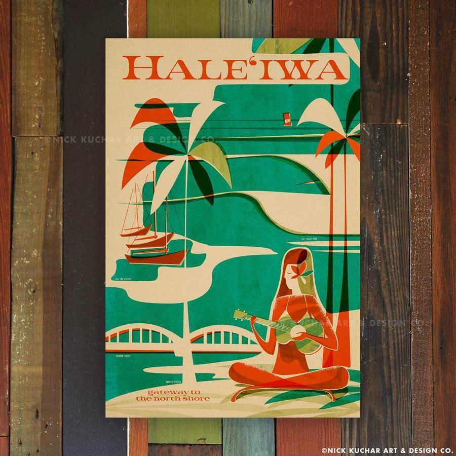 Nick Kuchar 12X18 RETRO HAWAII TRAVEL PRINT: HALEIWA WAHINE