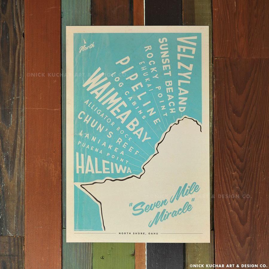 Nick Kuchar 12X18 RETRO HAWAII TRAVEL PRINT: NORTH SHORE MAP