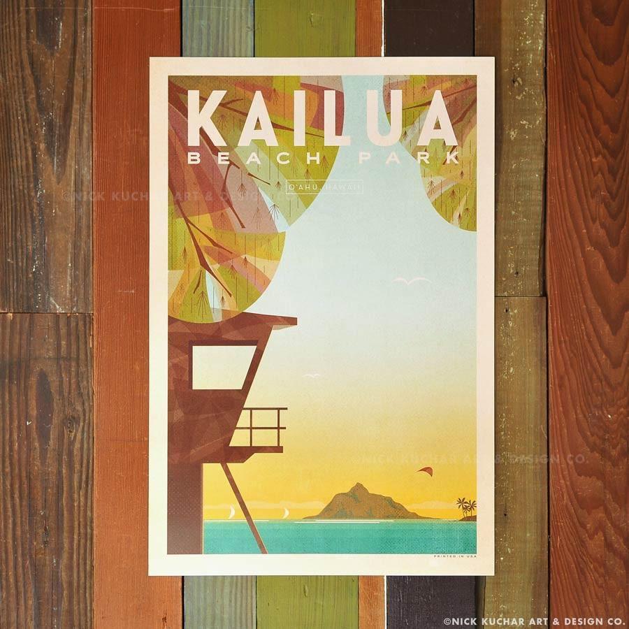 Nick Kuchar 12X18 RETRO HAWAII TRAVEL PRINT: KAILUA BEACH PARK