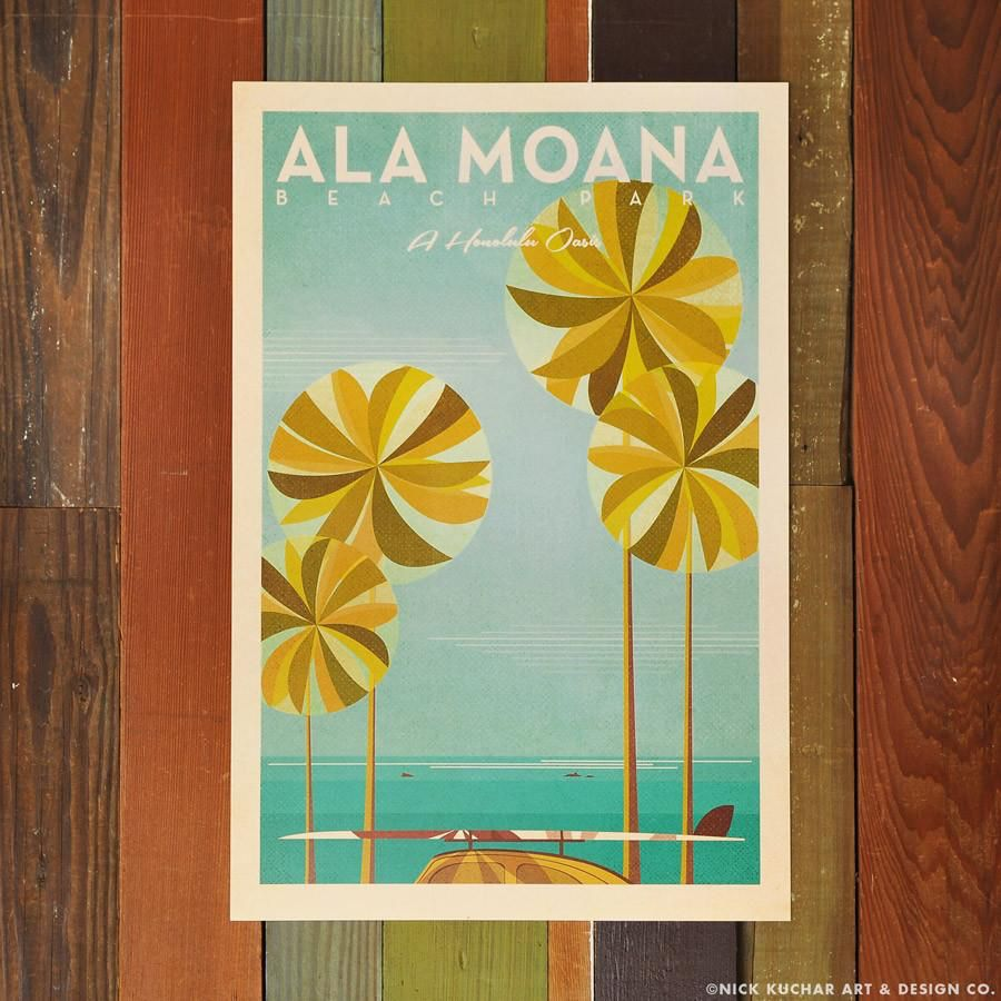 Nick Kuchar 12X18 RETRO HAWAII TRAVEL PRINT: ALA MOANA