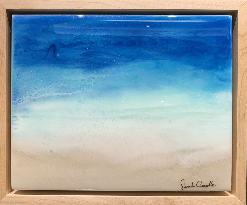 """Sarah Caudle ORIGINAL RESIN PAINTING-SOOTHING SEA, 8""""X10"""" FRAMED"""