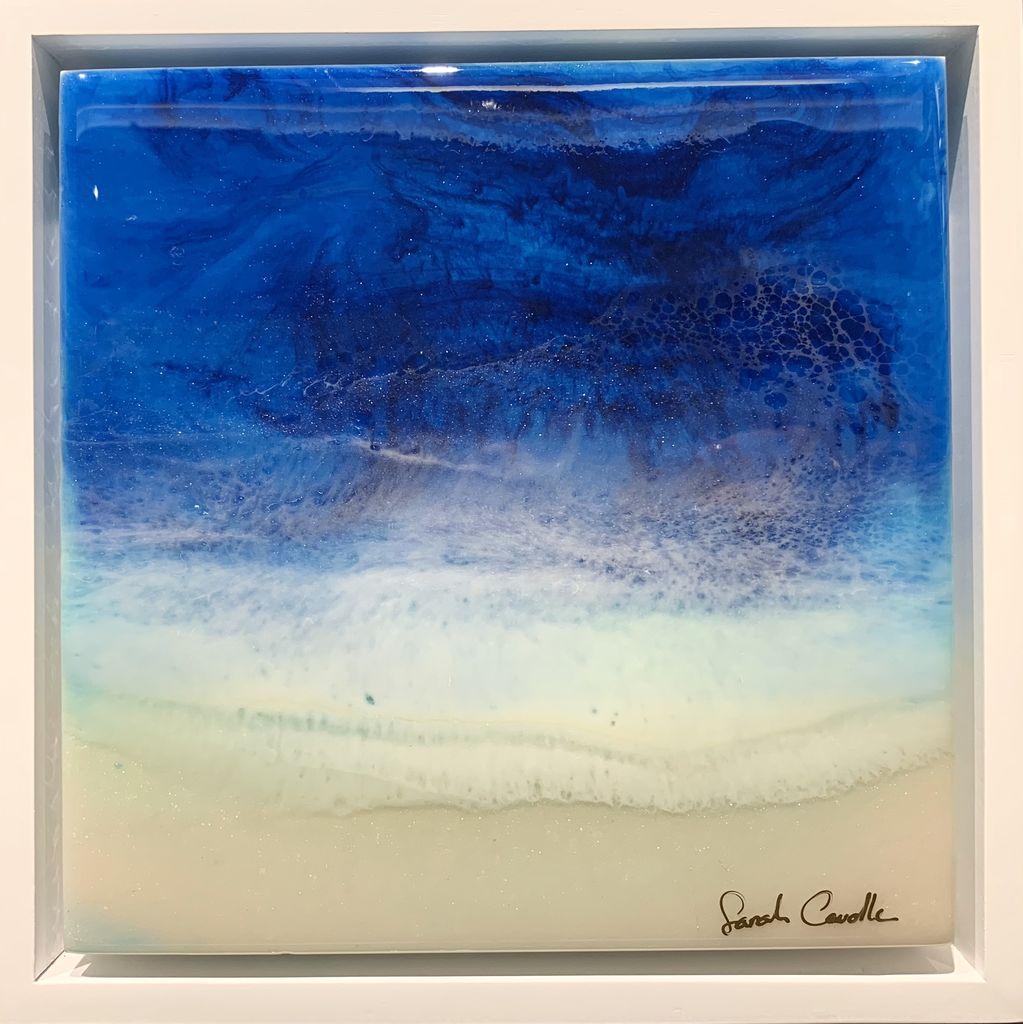 "Sarah Caudle ORIGINAL RESIN PAINTING-BLUE DEPTHS 2, 8""X8"" FRAMED"