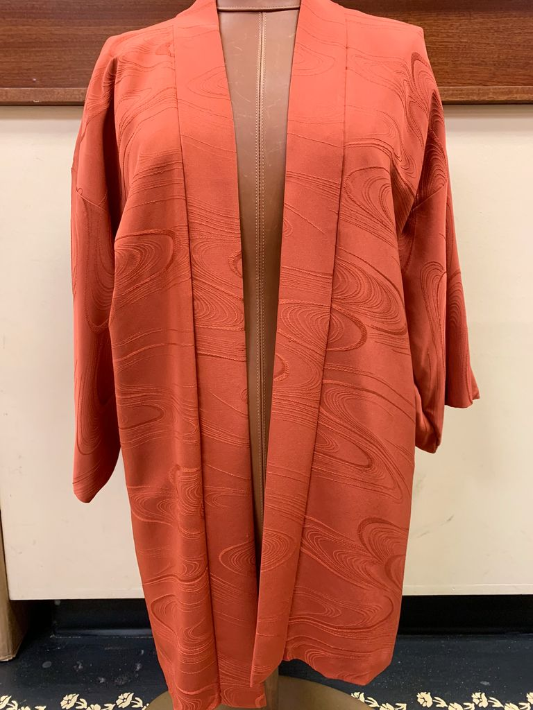 Elizabeth Kent burnt orange kimono jacket with swirls