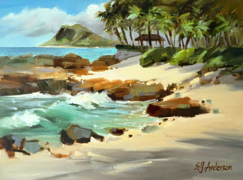 Susie Anderson KO OLINA MORN, 12X16 ORIGINAL OIL PAINTING ON CANVAS, FRAMED BLONDE CURLY KOA