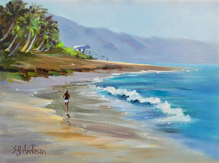 Susie Anderson MORNING RUN, 12X16 ORIGINAL OIL PAINTING ON CANVAS, FRAMED BLONDE CURLY KOA