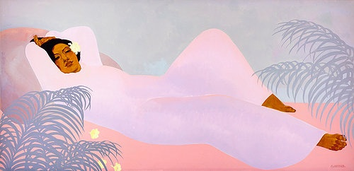 "Pegge Hopper PUA MELIA, 20.5"" PRINT ON PAPER WITH SOLID KOA FRAME"