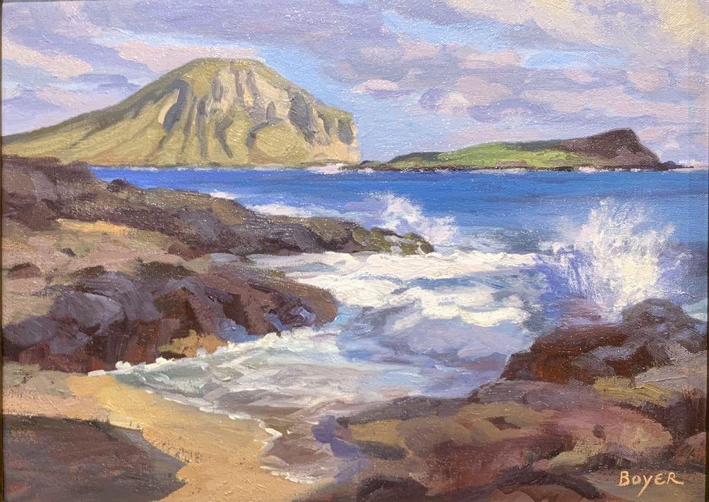 """Lynne Boyer MAKAPU'U ON THE ROCKS II, 12""""X16"""" ORIGINAL OIL ON CANVAS W/OMEGA FRAME"""