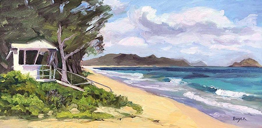 """Lynne Boyer WAIMANALO BEACH MORNING, 12""""X24"""" ORIGINAL OIL ON CANVAS W/BRILHANTE FRAME"""