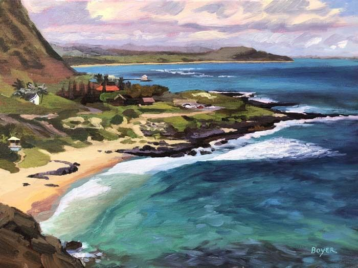 "Lynne Boyer MAKAPU'U VISTA, 18""X24"" ORIGINAL OIL ON CANVAS W/BRILHANTE FRAME"