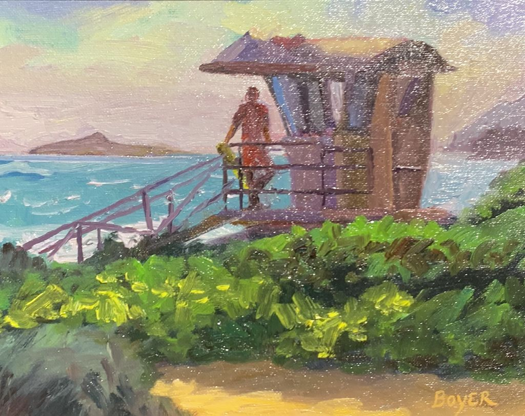 "Lynne Boyer WAIMANALO GUARD, 8""X10"" ORIGINAL OIL ON CANVAS W/OMEGA FRAME"